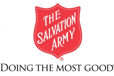 Red Salvation Army logo with doing the most good written under