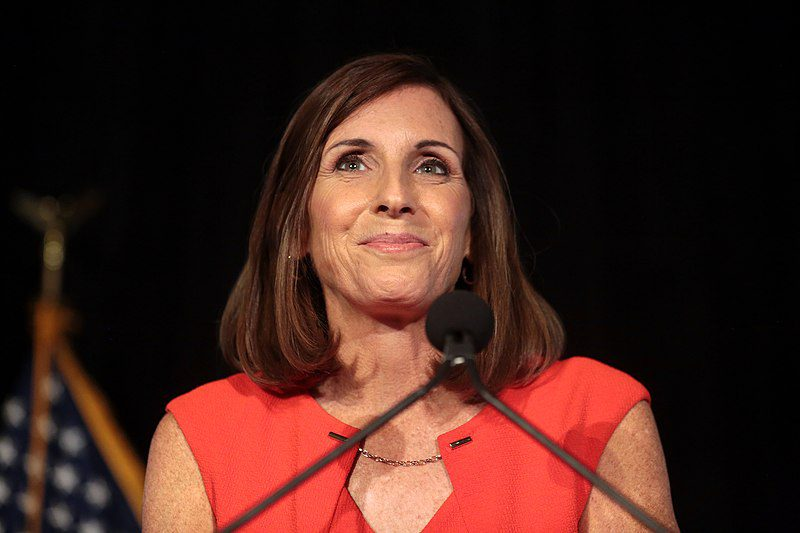 Senator Martha McSally standing at podium