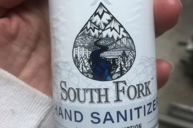 Bottle of South Fork Hand Sanitizer