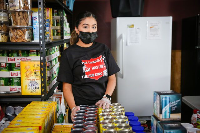 Woman helping in food pantry