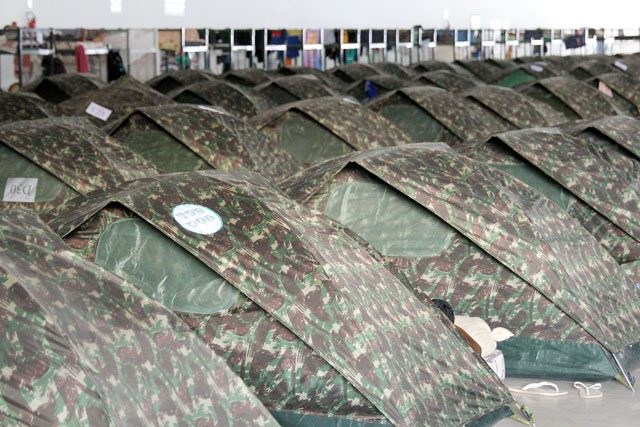 Rows of refugee tents
