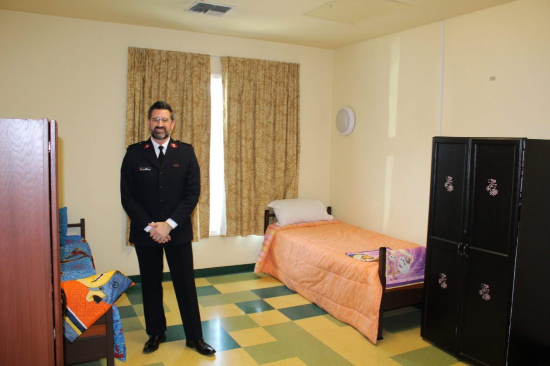 Officer in temporary housing room