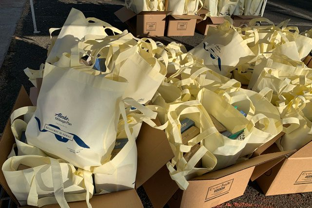 Boxes of prepared bags