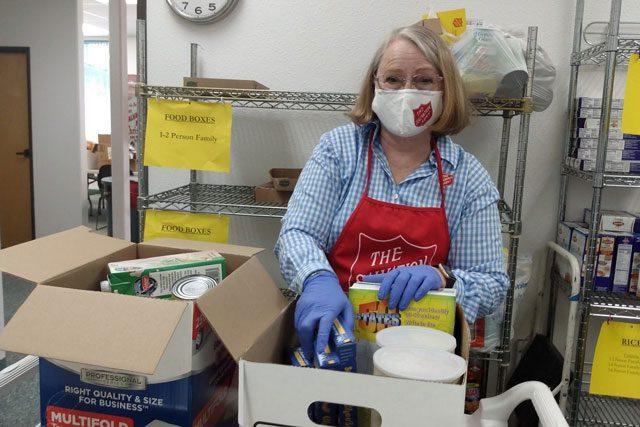 Woman in food pantry